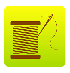 thread with needle sign vector image vector image