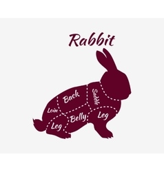 Typographic Rabbit Butcher Cuts Diagram vector image