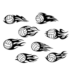 Set of volleyball sports tattoos vector