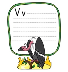 Funny vulture for abc alphabet v vector