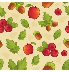 Background with acorn leaf berry apple vector