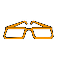 Color silhouette image glasses with modern contour vector