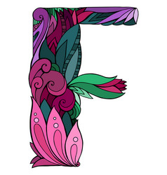 Coloring freehand drawing capital letter f vector