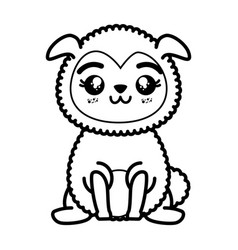 Isolated cute standing sheep vector