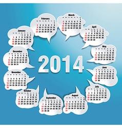 2014 bubble speech calendar vector image