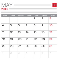2015 May calendar page vector image vector image