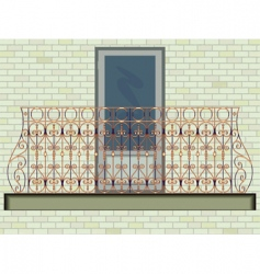 Iron balcony on brick wall vector