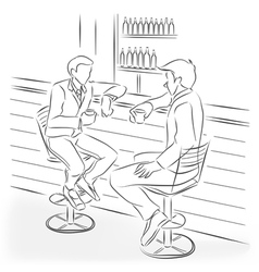 Two men sit at a bar counter vector
