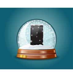 Cell phone in snow globe vector image