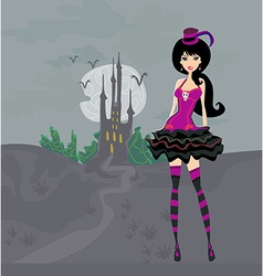 Grunge halloween young sexy girl on fear castle vector