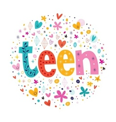 Word teen typography lettering decorative text vector