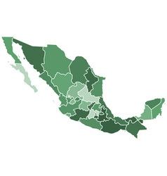 Mexico regions map vector
