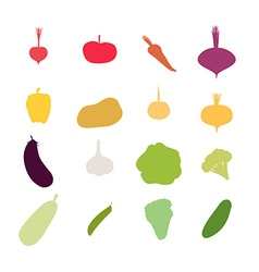 Vegetables silhouette icons set carrots an vector