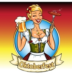 Pretty bavarian girl with beer and smoking sausage vector