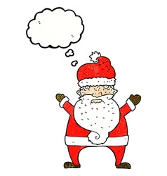Cartoon ugly santa claus with thought bubble vector