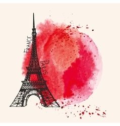 Eiffel towerwatercolor red splashparis card vector