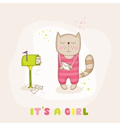 Baby girl cat with mail - baby shower card vector