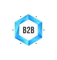 Blue polygonal hexagon icon with mesh and dots vector