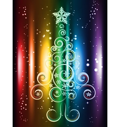 Card with Decorative Christmas Tree vector image vector image