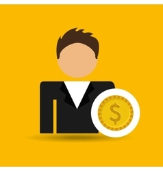 Character man currency coins money icon vector