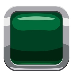 Dark green square button icon cartoon style vector