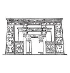 egyptian-front of temple of isis egyptian vector image