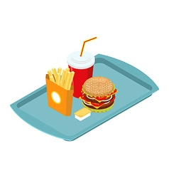 Fast food set on tray isometric Frying potatoes vector image