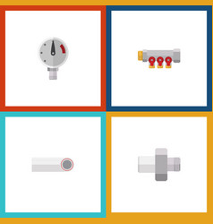 flat icon pipeline set of pipework pressure vector image vector image