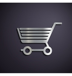 Flat metallic logo shopping cart vector image vector image