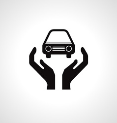Hands and car symbol vector