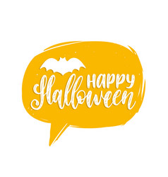Happy halloween lettering with bat vector