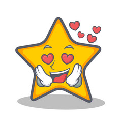 In love star character cartoon style vector