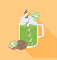 kiwi smoothie in mason jar flat design vector image vector image