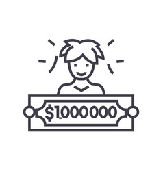 lottery winner concept thin line icon vector image vector image