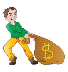 Man with a bag of money vector