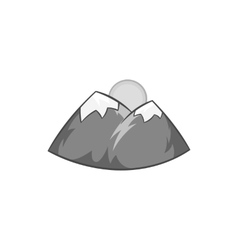 Mountains and sun icon black monochrome style vector image vector image