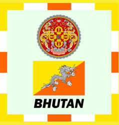 Official ensigns flag and coat of arm of bhutan vector