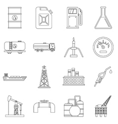 Oil industry items icons set outline style vector