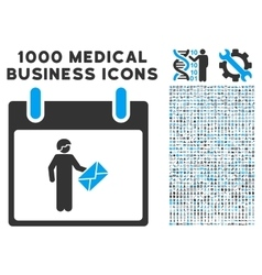 Postman calendar day icon with 1000 medical vector