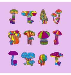 Psychedelic mushrooms or hallucinogenic fungus vector image