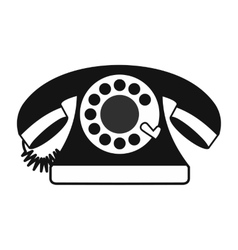 Retro red telephone black simple icon vector