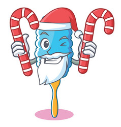 Santa with candy feather duster character cartoon vector