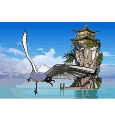 Seagull flying over the sea to the island vector