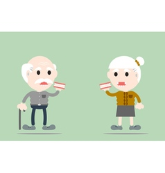 senior man and senior woman are holding denture vector image