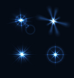 Set of light flashes different shapes and project vector