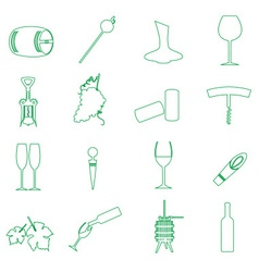 simple outline wine icons set eps10 vector image vector image