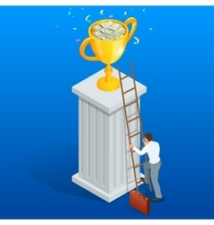 Win trophy success movement through obstacle flat vector image vector image