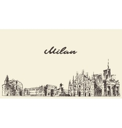 Milan skyline italy dawn sketch vector