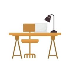 Wooden desk icon vector