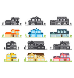 Flat icon suburban american house vector